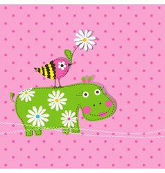 Hippo scrapbook card template vector