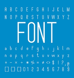 Thin font family and alphabet font design vector