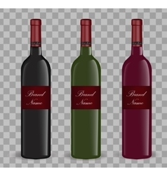 Realistic wine bottle set isolated on white vector