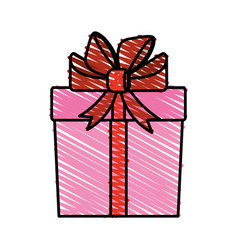 Color crayon stripe cartoon giftbox with wrapping vector
