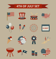 Vintage style set of patriotic icons independence vector