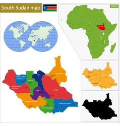 South sudan map vector