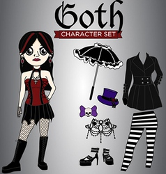 Goth girl character set vector