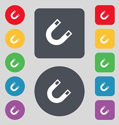 Magnet horseshoe icon sign a set of 12 colored vector