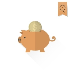 Piggy moneybox with coins vector