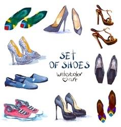 Watercolor set shoes vector