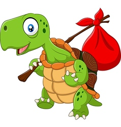 Cartoon funny turtle traveling vector