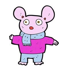 Comic cartoon mouse in clothes vector