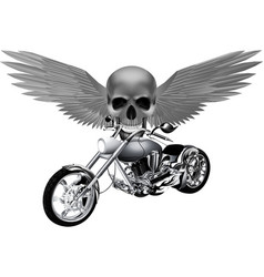road bike on the background of a skull with wings vector image
