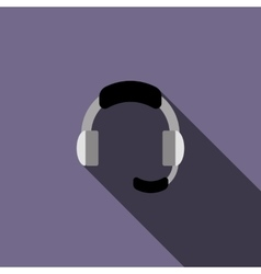 Headphone for support icon in flat style vector