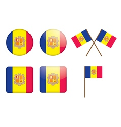 Badges with flag of andorra vector
