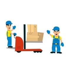 Two workers and forklift machine vector