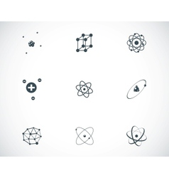 black atom icons set vector image