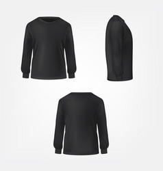 black jumper three sides view realistic vector image