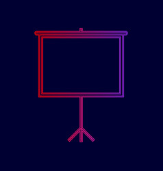 blank projection screen line icon with vector image vector image