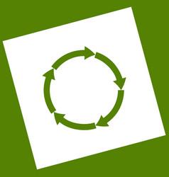 Circular arrows sign white icon obtained vector