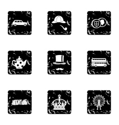 Country united kingdom icons set grunge style vector