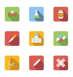 Diagnosis icons set flat style vector