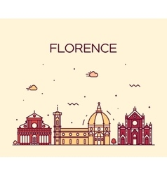 Florence skyline silhouette linear style vector image vector image