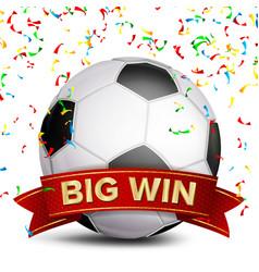 football award red ribbon big sport game vector image vector image