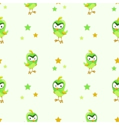 Funny texture with comic green bird vector