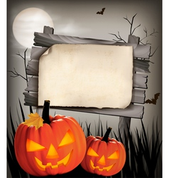 Halloween background with two pumpkins vector image vector image
