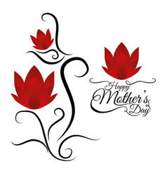 Happy mothers day card lettering flowers vector