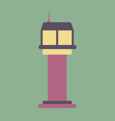 Icon in flat design for airport control tower vector