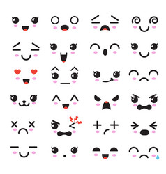Kawaii cute faces manga style eyes and mouths vector