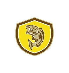 Largemouth bass jumping shield retro vector