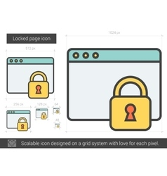 Locked page line icon vector