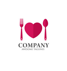 Love food logo template vector