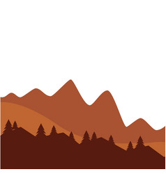mountain and pine tree sunset or sunrise view vector image