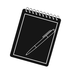 Notebook and pen icon in black style isolated on vector image vector image