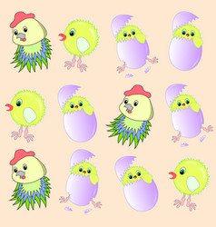 Pattern chicken hen vector