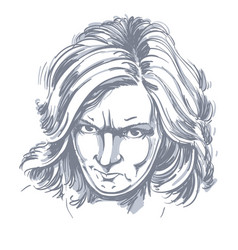 Portrait of angry woman with wrinkles on her vector