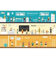 School lunch books study flat interior outdoor vector