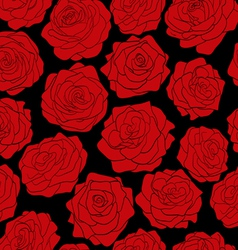 seamless pattern of red roses on black background vector image vector image