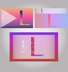Set of three business card with letter l vector