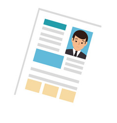 Side view file info with curriculum vitae sheet vector