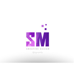 Sm s m pink alphabet letter logo combination with vector