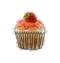 Watercolor drawing of cupcake with strawberry vector