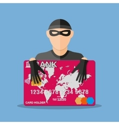Thief with credit card vector