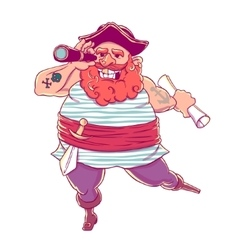 Happy tattooed pirate with a prosthetic weapons vector image