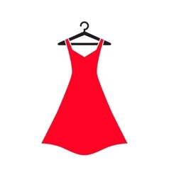 Red dress on hanger vector