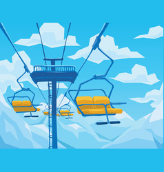 Winter scene with ski lift mountains landscape vector