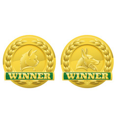 Cat and dog pet winners medals vector
