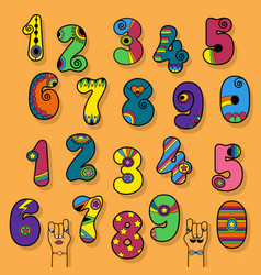 numbers set colorful disco and superhero style vector image