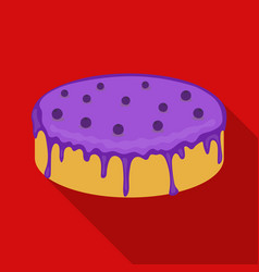 Bilberry cake icon in flate style isolated on vector