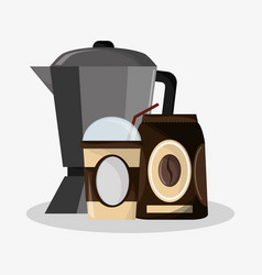 set metallic jar with packaking of coffee with vector image
